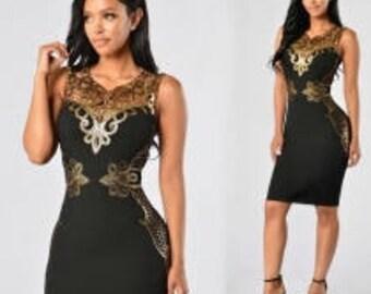 Black and Gold Trim Dress