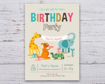Invitation Birthday Party Animals 4x6 / 5x7, Invitation card printable birthday, Custom invitation birthday animals