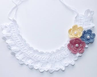 White Crocheted bib-style necklace. Rose, Sunny Yellow, Horizon Blue Tri-Flowers.  Heirloom, Vintage, One of a Kind Keepsake.