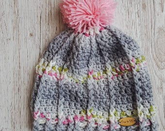 Gray pink green hat, gray pom pom hat, pom pom hat, toddler hat, winter hat, crochet hat, gift for girls