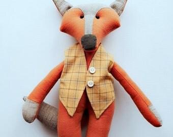 Interior doll, handmade doll, fabric doll, Rag doll, cloth doll, soft toy, collectibles, OOAK doll, Stuffed toy, animal toys, Fox doll