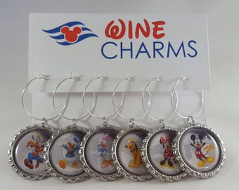 Disney Character Film Wine Charms - Fish Extender Gift - FE Gift - Disney Cruise Line Wine Charms - Set of 6 - Mickey Mouse Wine Charms