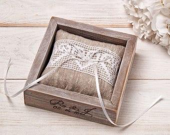 Ring Bearer Box Ring Box with Burlap Ring Pillow Proposal Ring Bearer Box Ring Bearer Pillow Wedding Ceremony Ring Holder for Bride&Groom