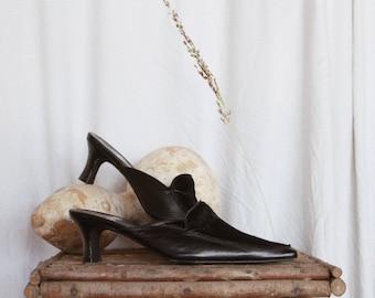 Minimal Vintage Hair On Heeled Mules | Kitten Heel Leather Slides