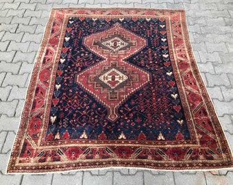 persian rug vintage rug persian semi antique rug handwoven wool home office decor size 5u0027