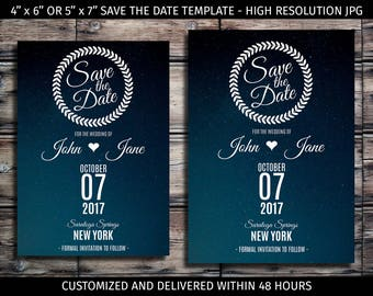 High Quality Print Ready Customized Save the Date - JPG Digital File - Printable,  Starry Night, Stars, Calendar, Template, Announcement