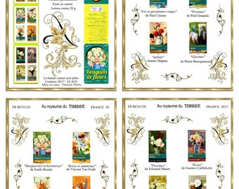 Bouquets de fleurs - Large Masters paintings - stamp book France 2015 - Mother's Day - Art and Collections