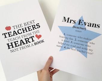 Teacher Print - Teacher Gift - Best Teacher - Star Teacher - Typography Print - Framed Print - Home Decor - School - Apple - Star - Gift