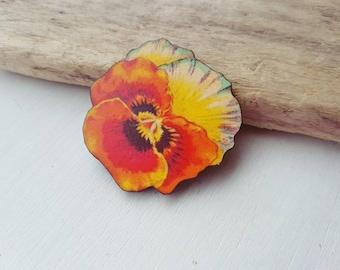 Flower brooch flower  badge. Pansy flower badge vintage flower jewellery orange flower accessory flower pin. Vintage flower.  gardening gift