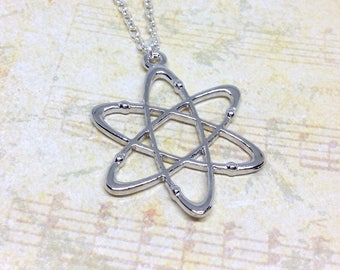 Atom Necklace, Science Necklace, Atom Pendant, Sceince Jewellery, Atom Charm, Geek Necklace, Physics Necklace, Physics Jewellery