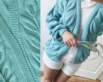 Knitted Christmas gift women blue sweater fall clothing jacket long sleeve sweater knit oversized cardigan blue leaves clothing yarn jacket