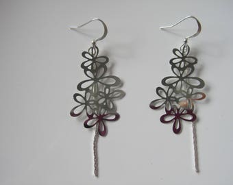 "Earrings ""Cylla"", garlands of little flower and silver chains"