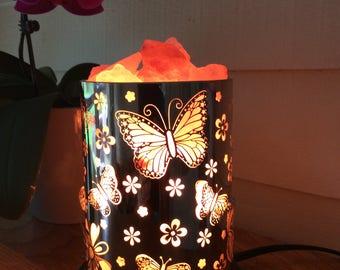 Butterflies and flower salt lamp