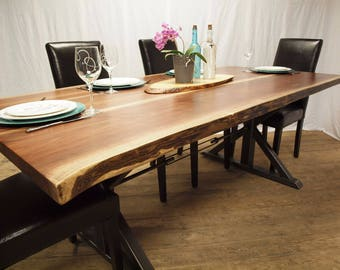 Live Edge Black Walnut Table With Metal Base 40x84