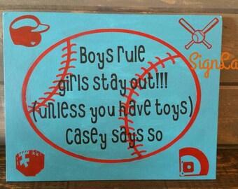 Baseball boy alert room door hanger