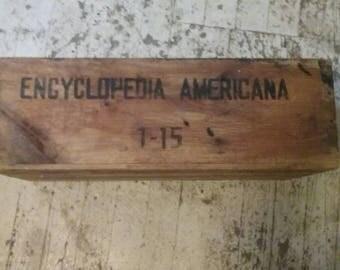Vintage 1951 Americana Encyclopedia Storage Box/Wooden Organization Bin/Eco Friendly Home Decor/Upcycle Project/
