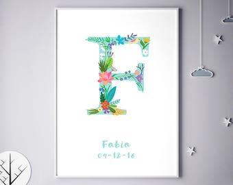 Flower Monogram, Girl Bedroom, Boy, Boy Bedroom, Newborn Baby, Faith, Fatima, Fiona, Felicity, Francesca, Frances, Birthday