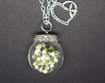 NECKLACE PENDANT NATURE, plants, FLORAL white baby's breath with a heart gift for MOM, girlfriend, sister, godmother.