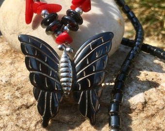 Hematite Butterfly and Red Jasper Beaded Necklace