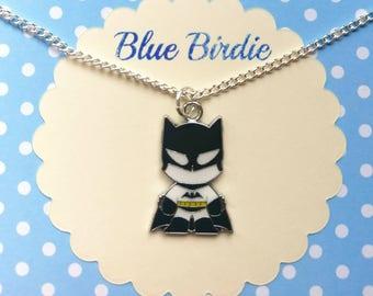 Cute batman necklace batman jewelry batman jewellery batman gifts batman pendant necklace enamel batman necklace baby batman