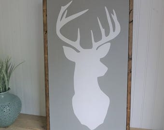 deer sign | framed wood sign | home decor | gallery wall