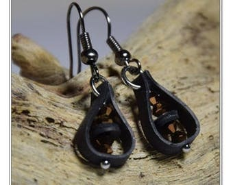 Bicycle Earrings, Bicycle Inner Tube Earrings, Recycled Jewelry, Eco Friendly Upcycled Earrings, Gift for Cyclists, Swarovski Earrings, Gift