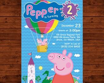Peppa Pig Invitation, Peppa Pig Birthday Invite, Peppa Pig Printable Card, Peppa Pig Party Supplies, Peppa Pig Download, George Pig Invite