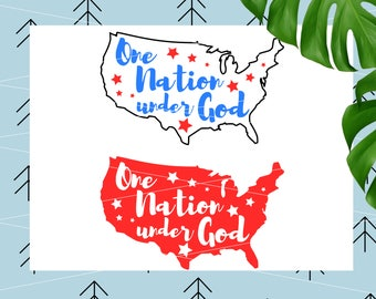 One Nation Under God svg US Map svg 4th of July SVG America svg Patriotic svg files for cricut silhouette cut files svg png dxf eps lfvs