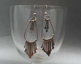 Silver Drop Earrings, Large Silver Tassel, Naja Pierced Earrings, Thin Metal Earrings, Old Pawn Earrings, Intricate Metalwork, Raindrops