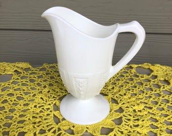 Milk Glass Pitcher, White Pitcher, Victorian Home Decor, Milk Glass Mug, Milk Glass Serving, Carved Pitcher, White Carafe, Easter Decor