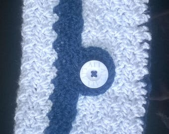 crochet handmade Small blue clutch purse with button fastening