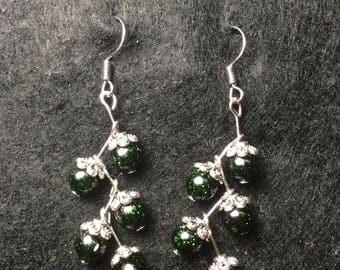 Green goldstone earrings