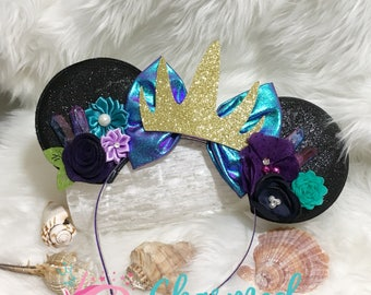 Large Ursula, Sea Witch Inspired Minnie Mickey Ears, Ursula Inspired, Ariel, Uma, Descendants, Disneyland, adult/child headband