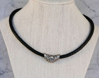 Leather & Silver Necklace, Leather Jewelry, Zamak, Magnetic Clasp, Gifts for Her, Women's Necklace, Sterling Silver