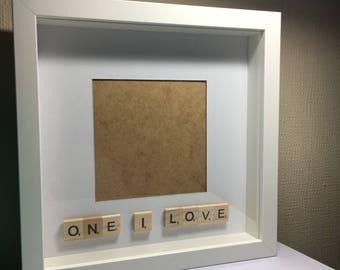 One I love photo frame, Love photo frame, Photo frame, Scrabble letter photo frame