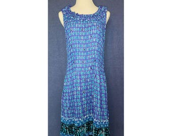 VINTAGE 1960s Floral Ruffle Tea Dress - Ocean Blue & Indigo