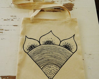 hand-painted fabric bag