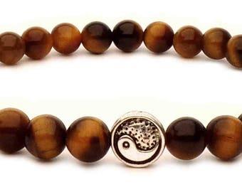 The bracelet Yin Yang beads Tiger eye