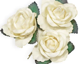 6 x White/Ivory Mulberry Paper, Beautiful Large Rose Flowers With Wire Stem 45mm - Card Making Wedding Craft