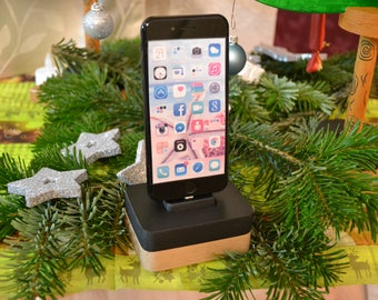 iphone charging station docking station stand, IDOQQ Uno Black Wood Station, iphone 5, 6, 7, 8