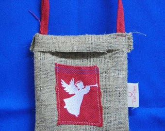 2 Embroidered Christmas bags | Christmas gift | Christmas present | Jute satchels for Christmas