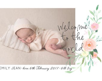 Wildflower Personalised BABY ANNOUNCEMENT Card Printable