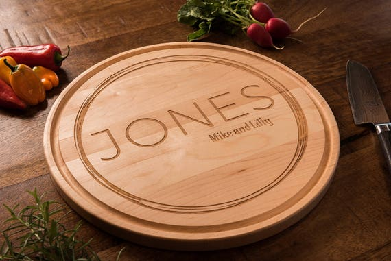 Personalized Wood Cutting Board, Custom, Modern, Gift for Couple, Wedding Gift, Anniversary Gift, Housewarming Gift, Engraved Tray, D 140