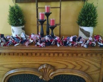 RAG GARLAND- Patriotic/Americana/Red,White,Blue