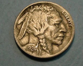 1924-D  Buffalo Nickel  Extra Fine Key Date Coin  <> Free S.H. to U.S. <> # ET7615