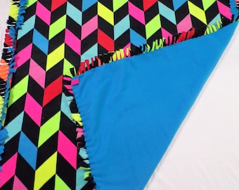 Neon Broken Chevron Fleece Blanket