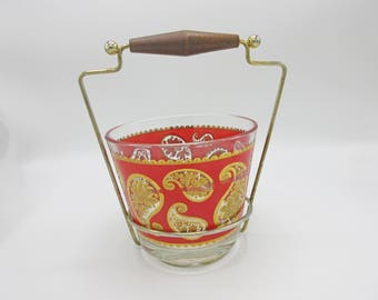 Mid Century Culver Glass Paisley 22K Gold and Red Mod Cool with Brass and Wood holder
