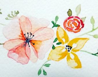 flowers // watercolor card // blank card // floral // print