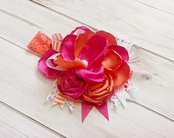 Pink and orange headband- summer headband
