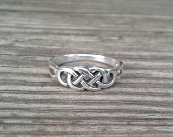 Celtic Ring, Sterling Silver Celtic Endless Knot Ring, Celtic Jewelry